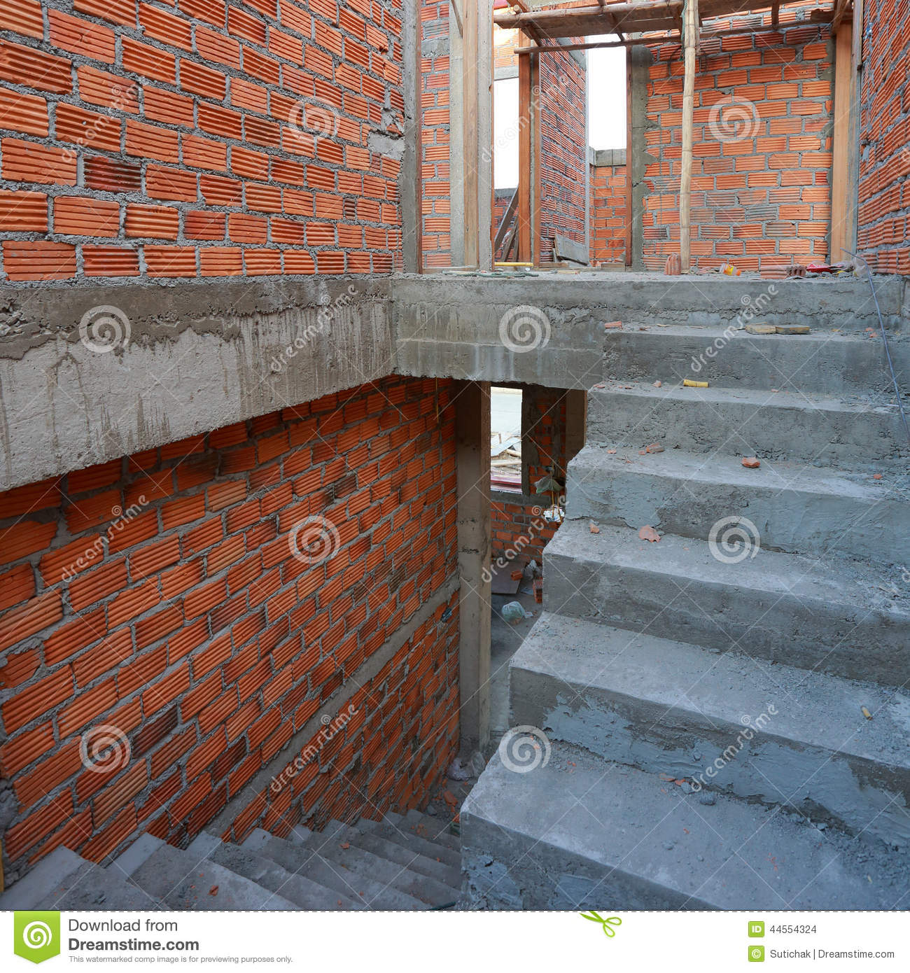Staircase In Residential Building Construction Stock Photo ...