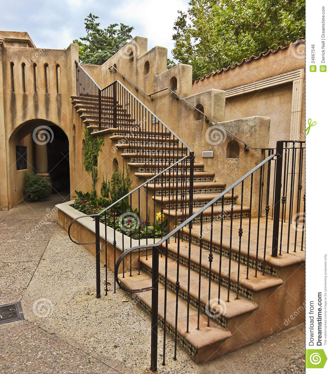 Spanish Colonial Architecture: A Staircase In Spanish-Colonial Style Architecture Stock
