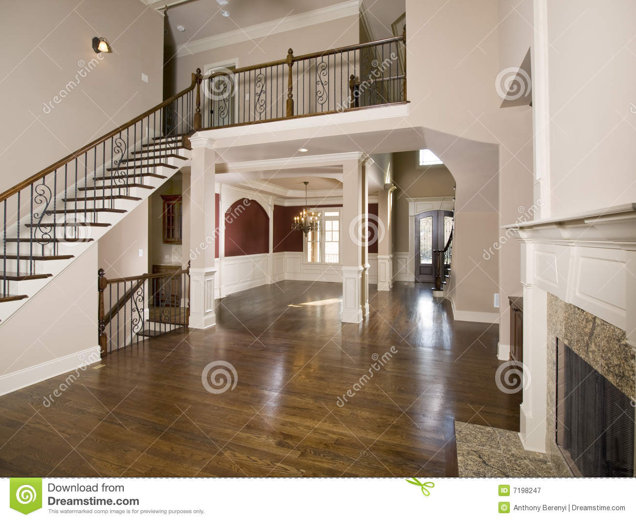 Staircase To Luxury Living Room Wide View Stock Image