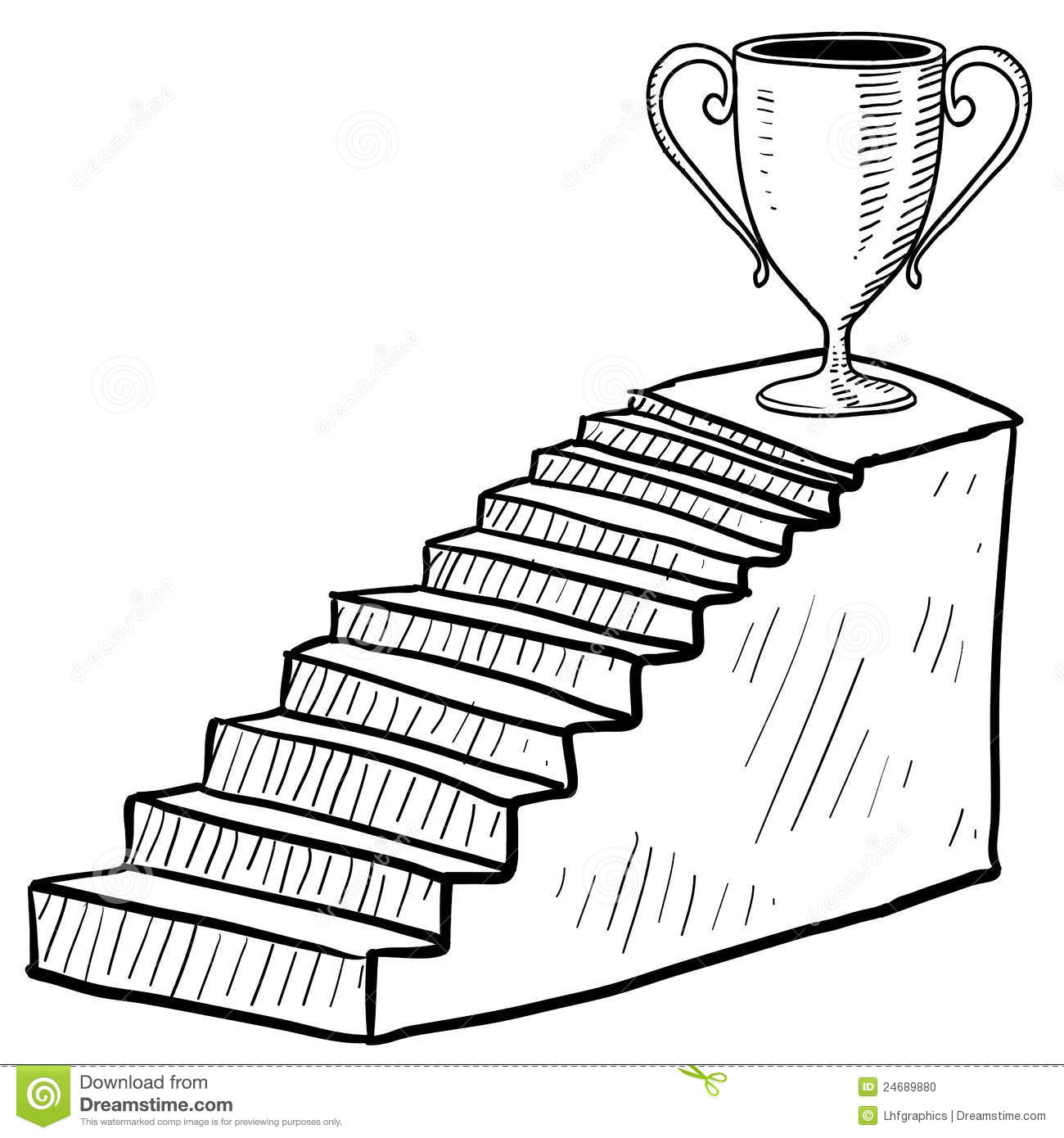staircase to victory sketch stock vector