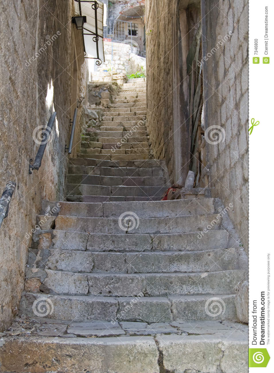 Staircase Between Two Walls Stock Photo Image Of House Building
