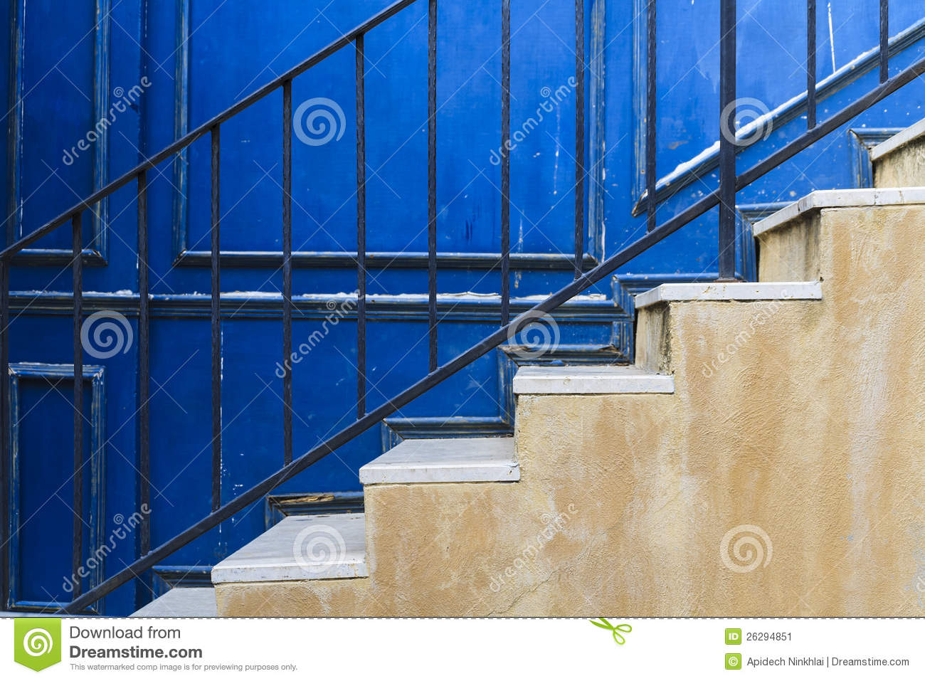 Staircases with blue wall background stock image image