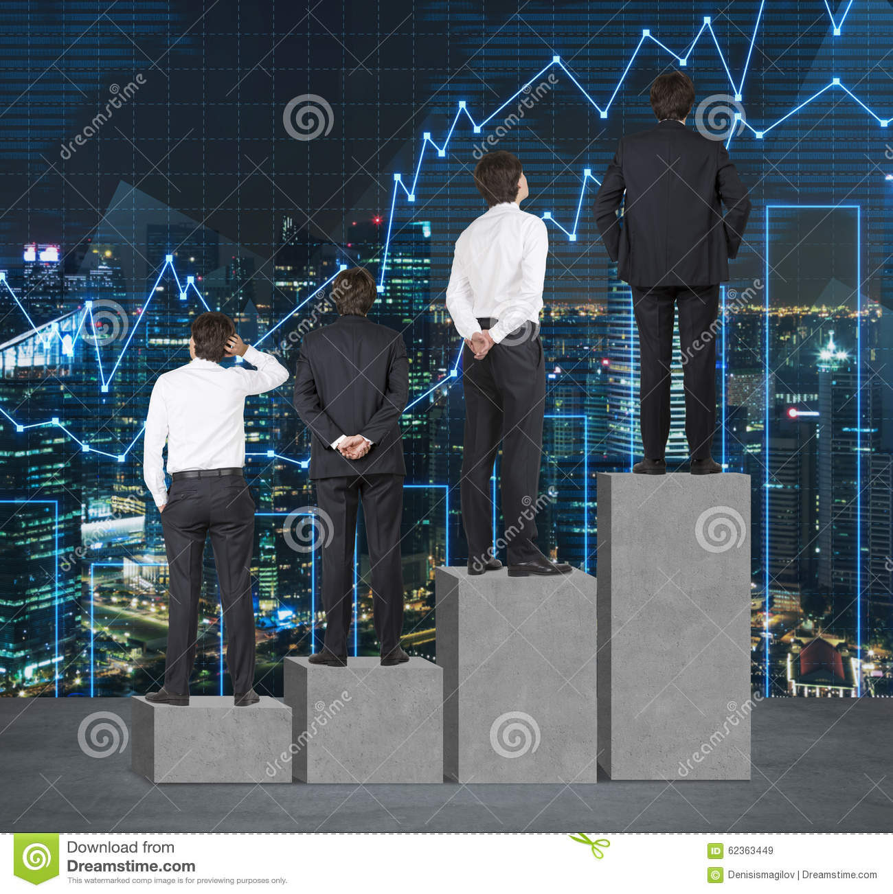 Stairs as a huge concrete bar chart. Businessmen are standing on each step as a concept of range of problems or levels of responsi