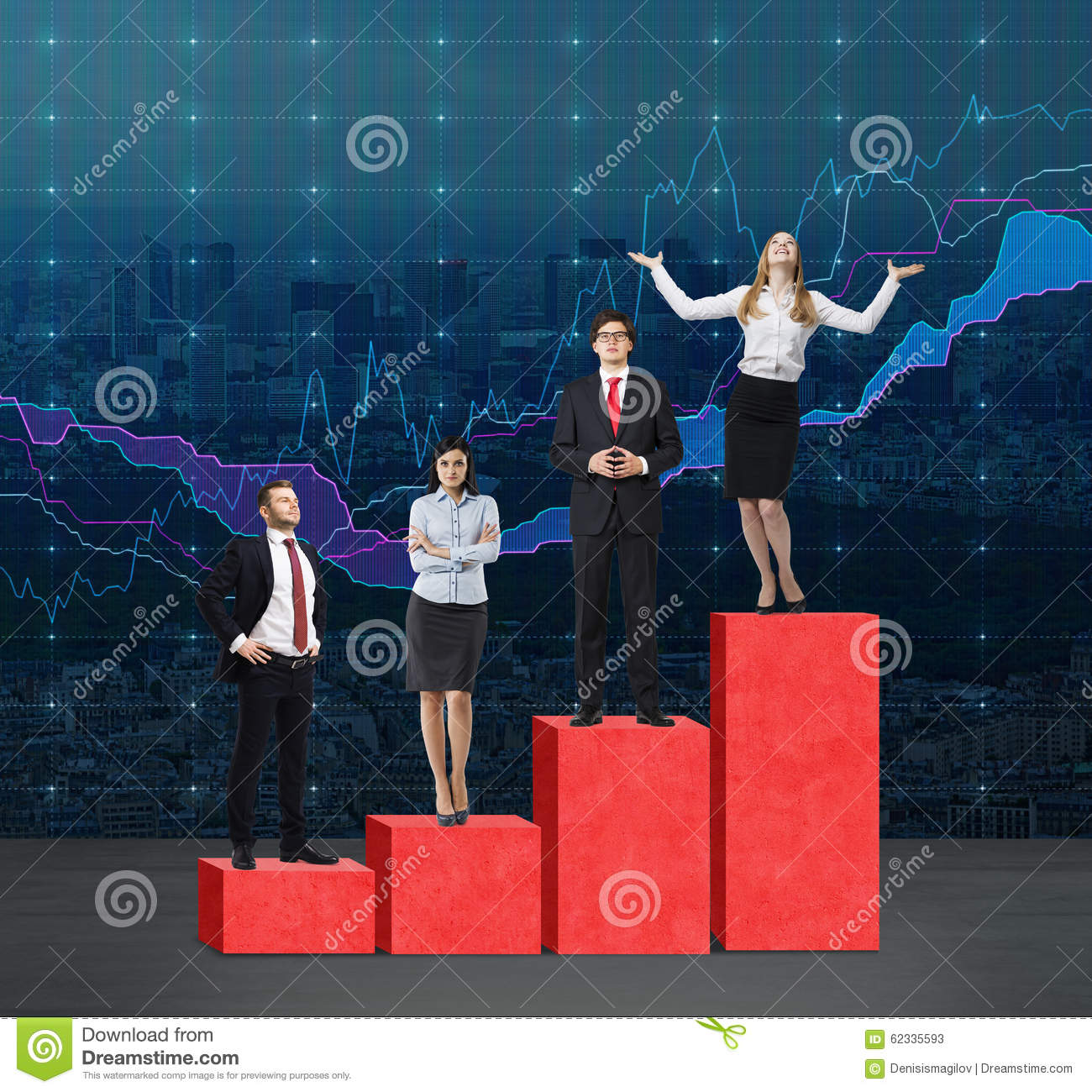 Stairs as a huge red bar chart. Business people are standing on each step as a concept of range of problems or levels of responsib