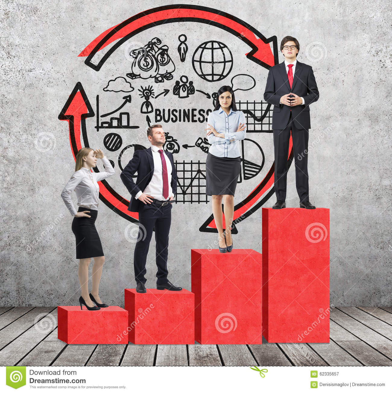 Stairs as a huge red bar chart are in the room with concrete floor and contemporary wall. Business people are standing on each ste