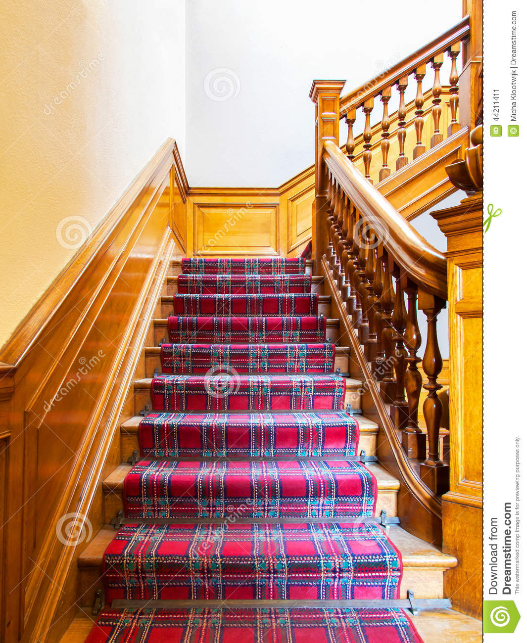 Old Stairs: Stairs With Carpet Strip Stock Image. Image Of Carpet