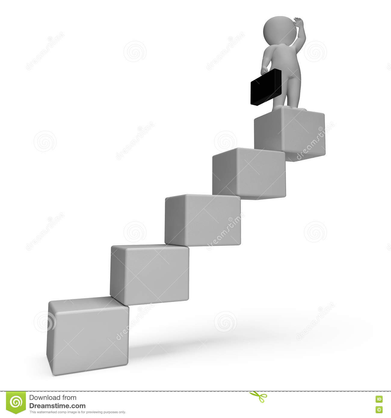 stairs character indicates business person and achieve d stairs character indicates business person and achieve 3d rendering