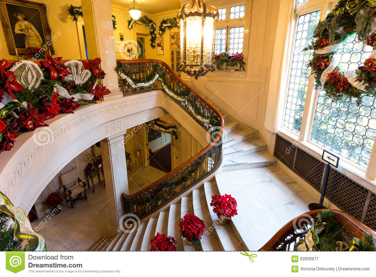 stairs christmas decorations in pittock mansion