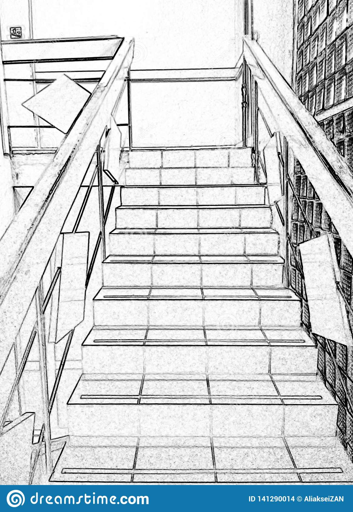 Stairs, climbing up, black and white, drawing, photo processing