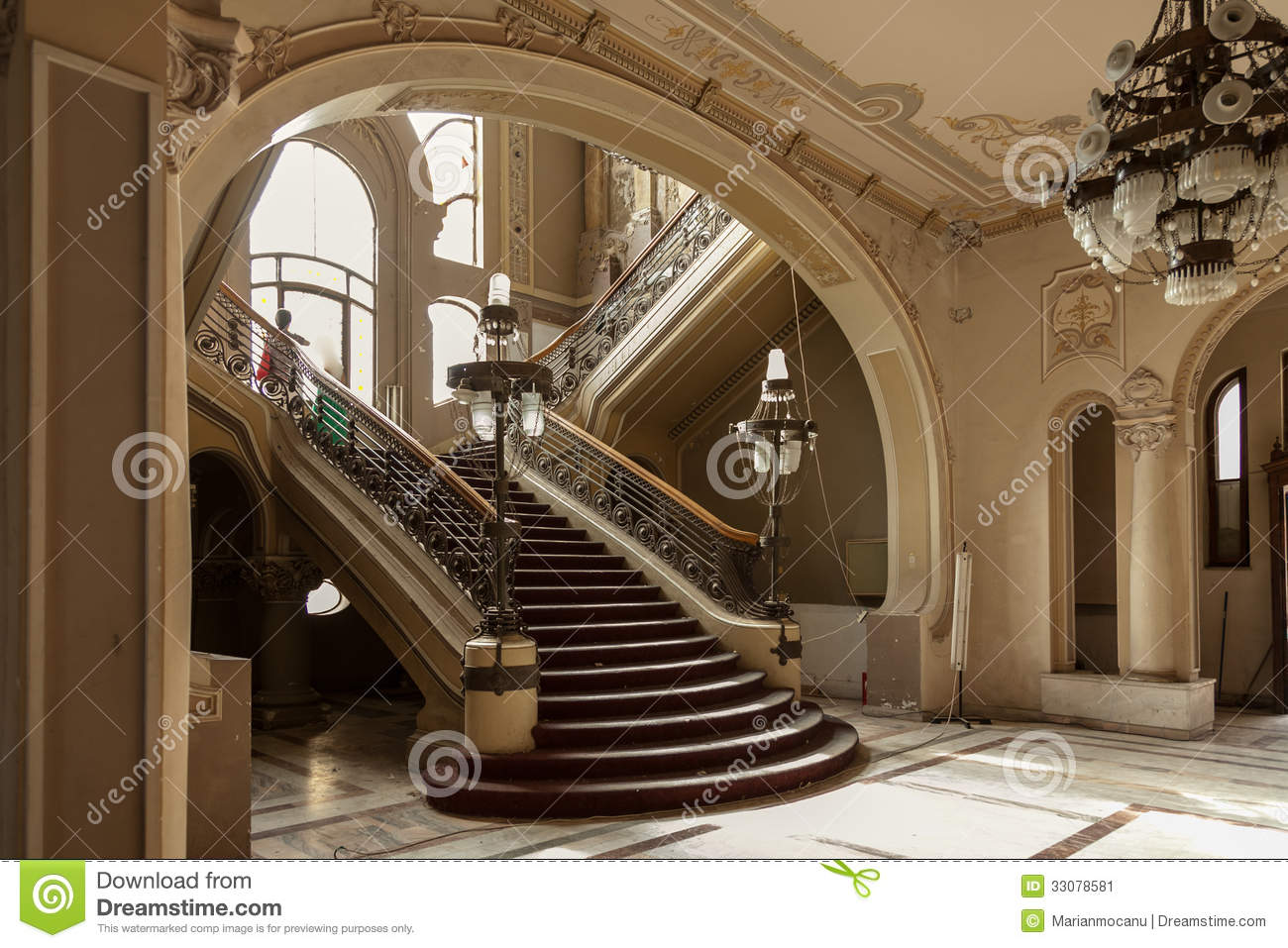 Stairs detail in old history casino building stock image for Art nouveau fenetre