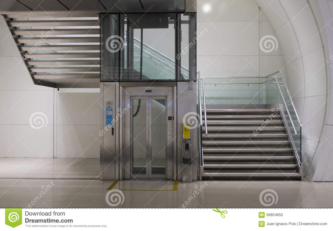 Stairs And Elevator Stock Image Image Of Down Staircase