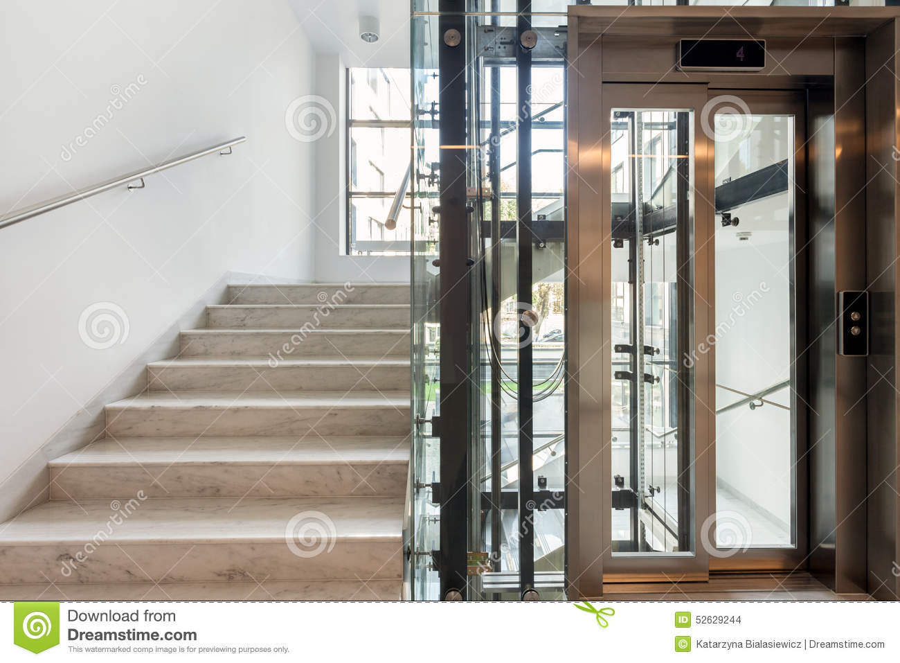 Stairs And Elevator Stock Photo Image 52629244