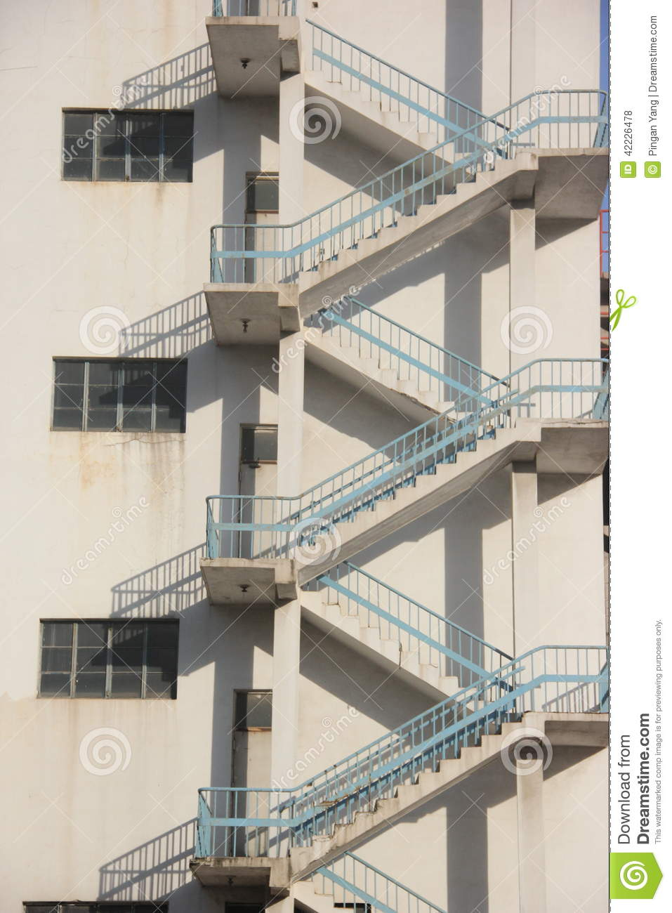The Stairs Of Exterior Wall Stock Photo - Image of build, stairs
