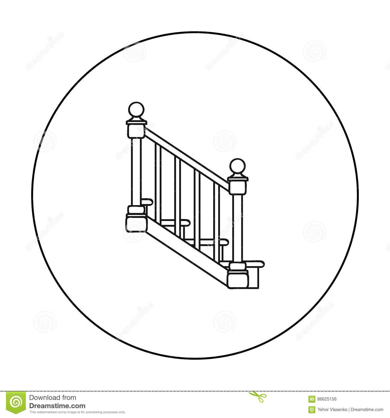 Stairs Icon In Outline Style Isolated On White Background Sawmill