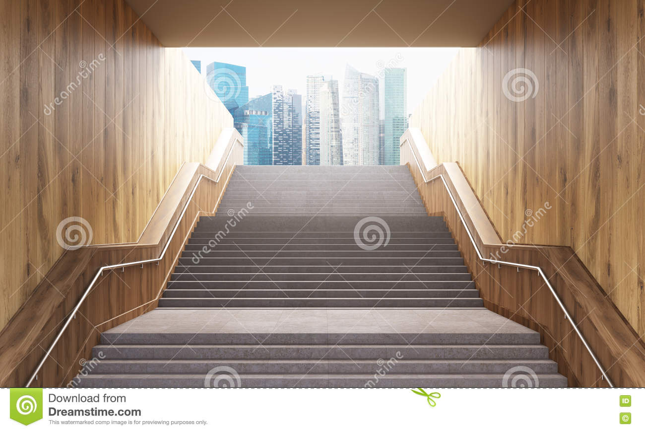 Stairs leading to city stock illustration  Illustration of