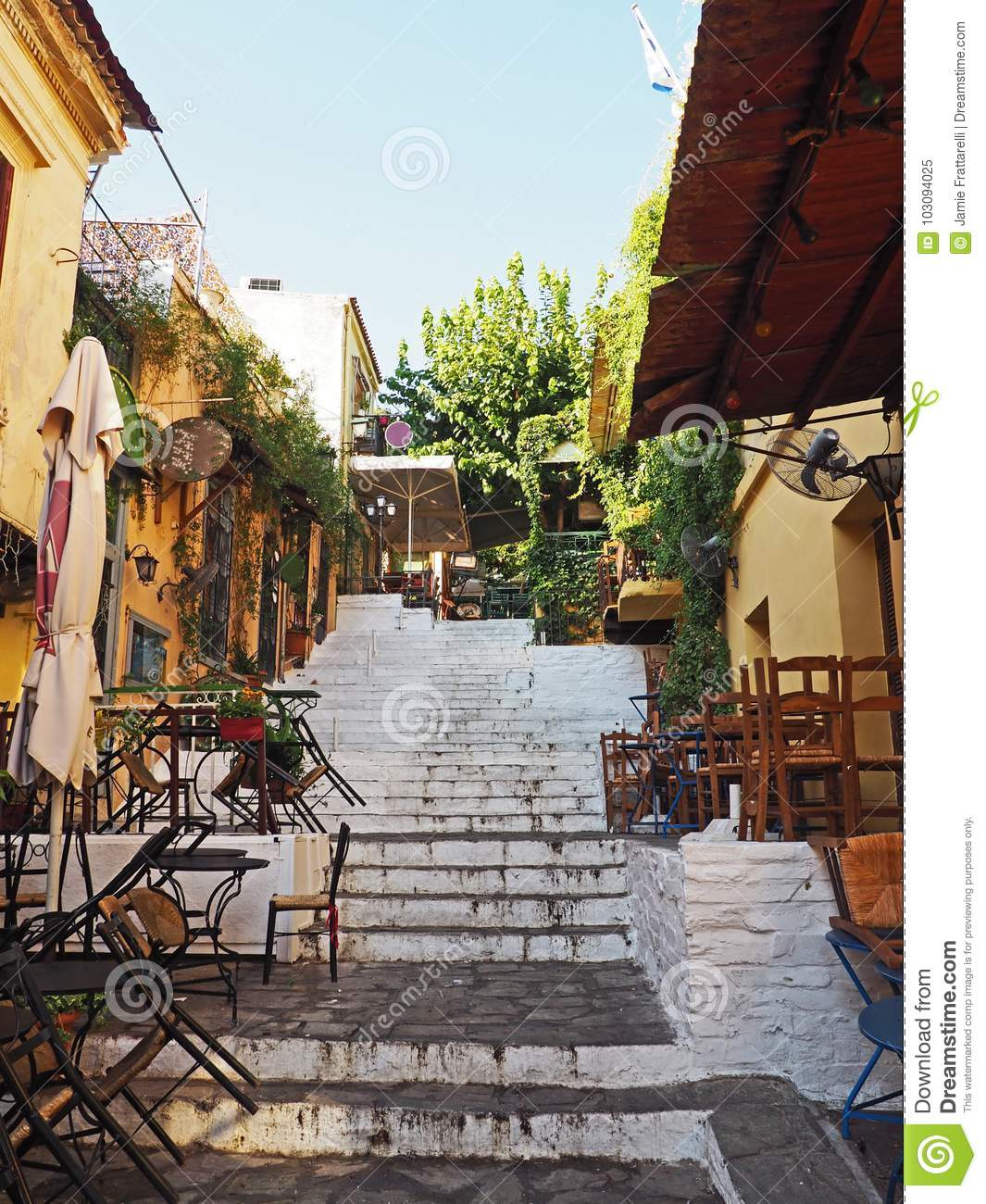 Stairs Lined With Restaurants In Athens Greece Stock Image