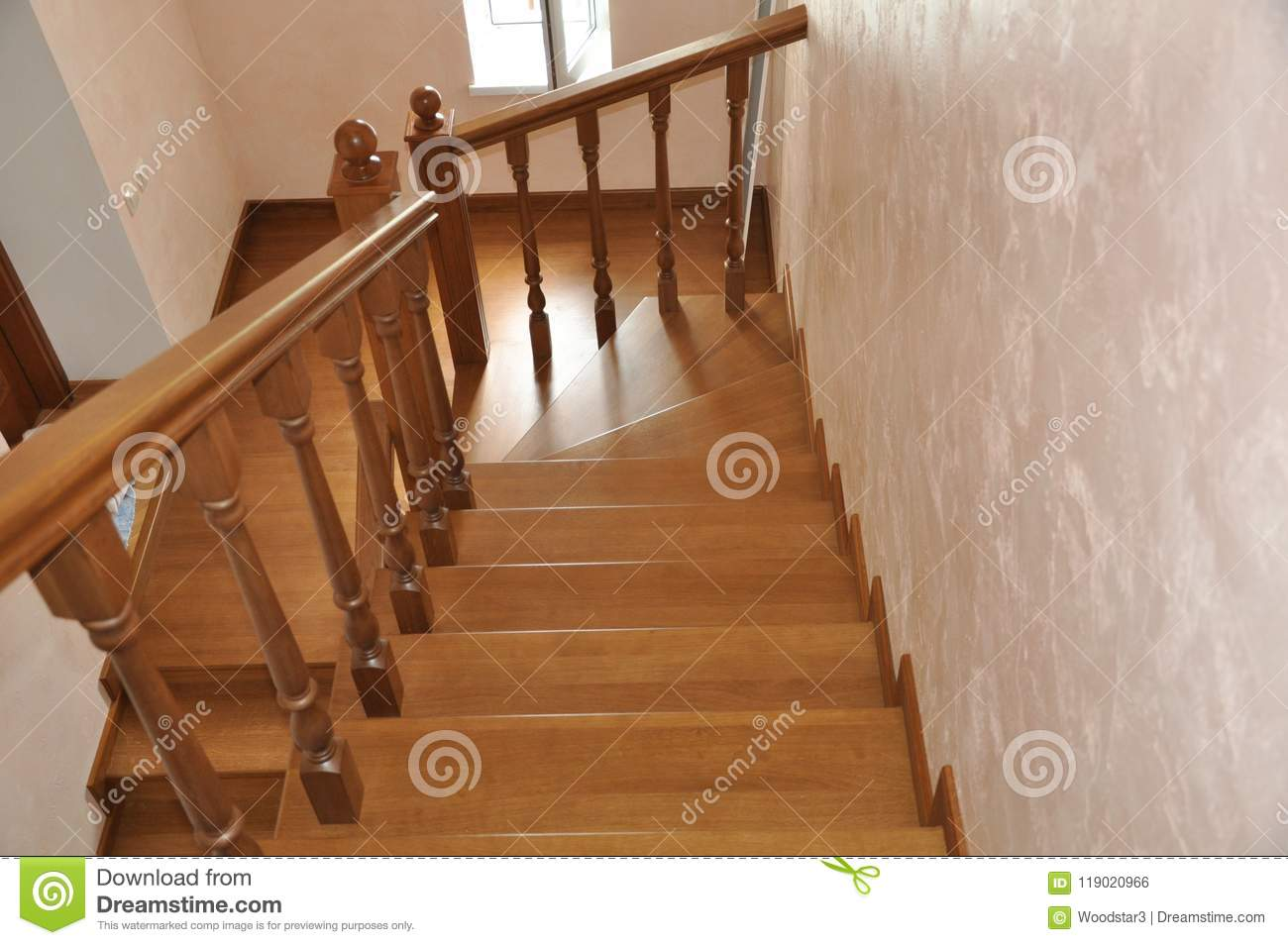 Stairs Of Oak In A Country House View From Above Stock Photo