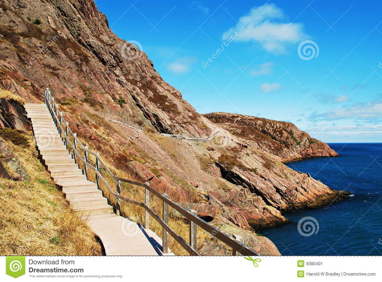 Stairs on oceanside cliff stock image