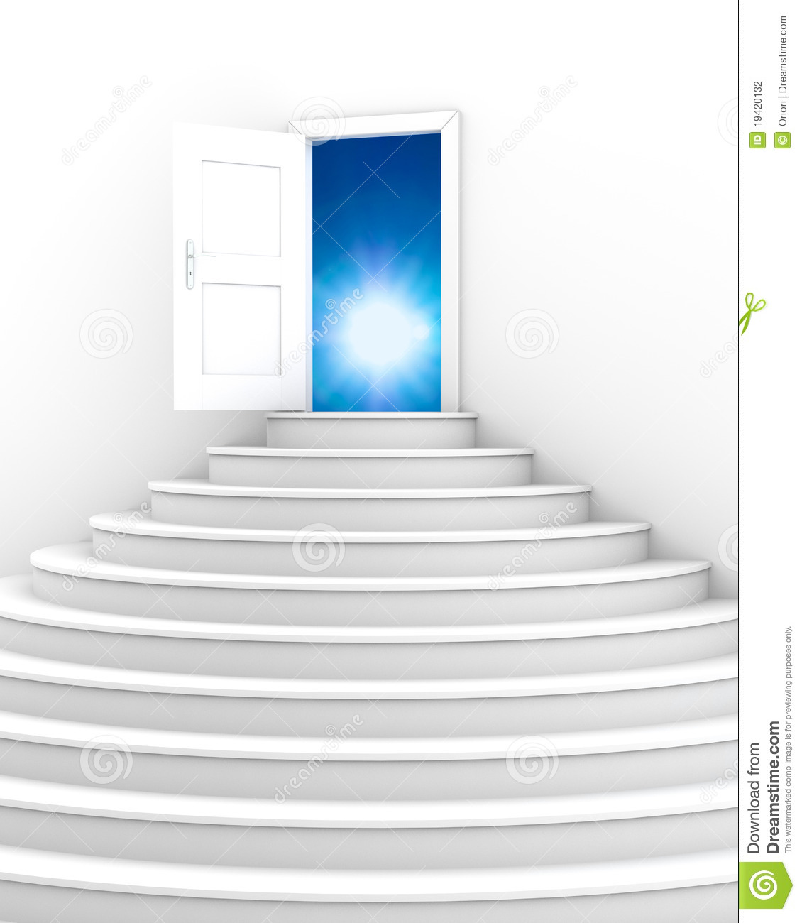 Stock photography stairs with opened door