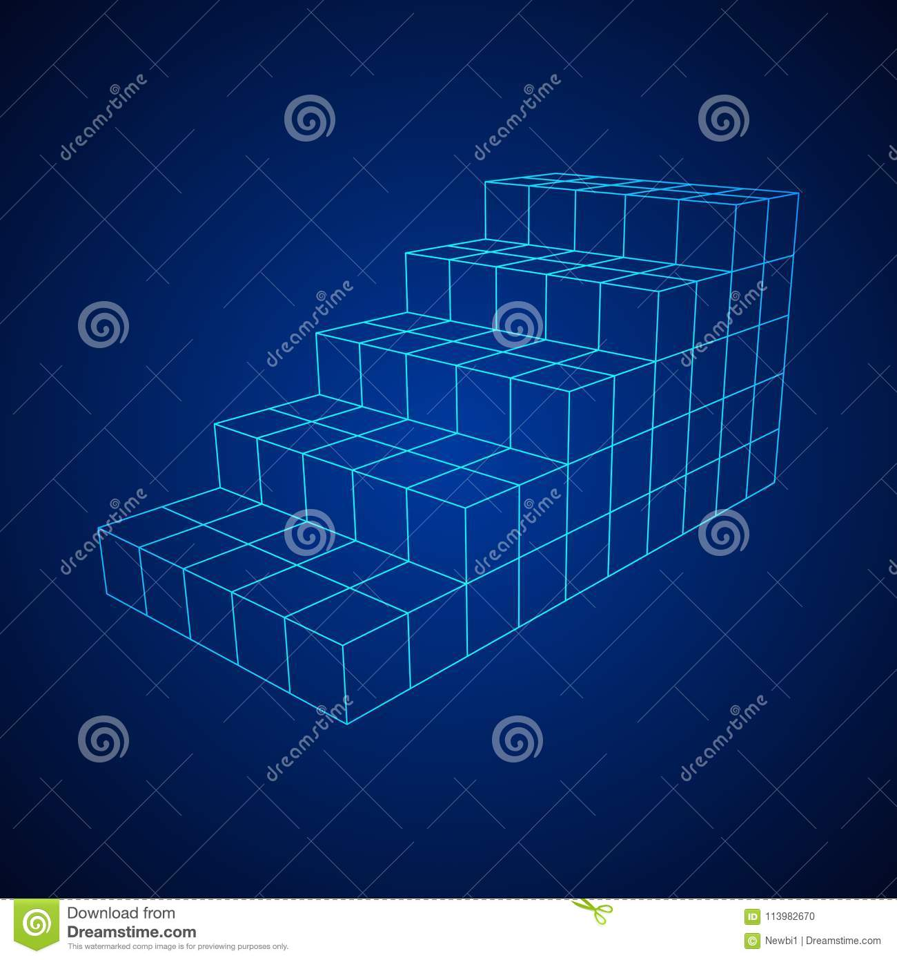 Stairs Stage Podium Wireframe Stock Vector Illustration Of