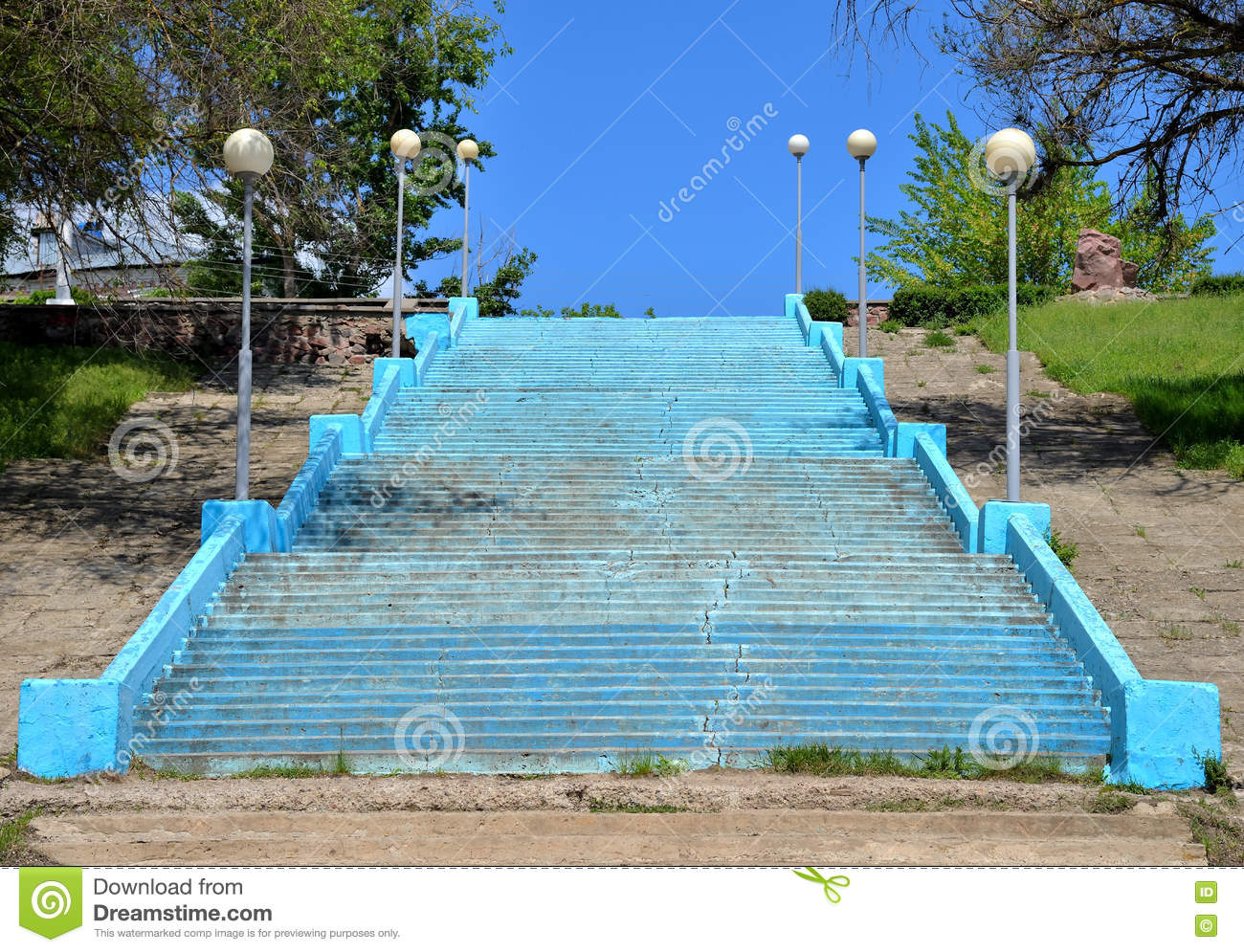 Download Stairs With Street Lamp To River Beach, City Of Pavlovsk, Voronezh  Region,
