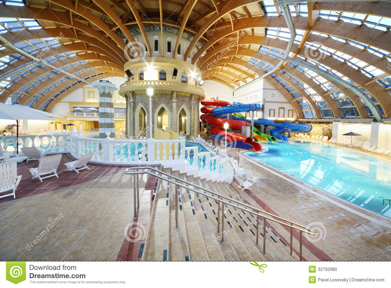 Stairs swimming pools and water slides editorial image - Swimming pools with waterslides in london ...