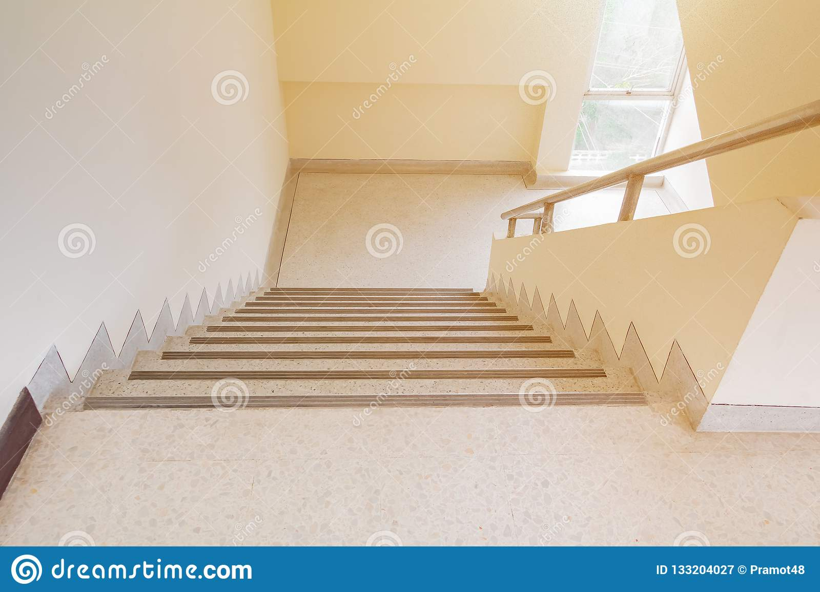 Stairs Terrazzo Floor Walkway Up Down Interior Building