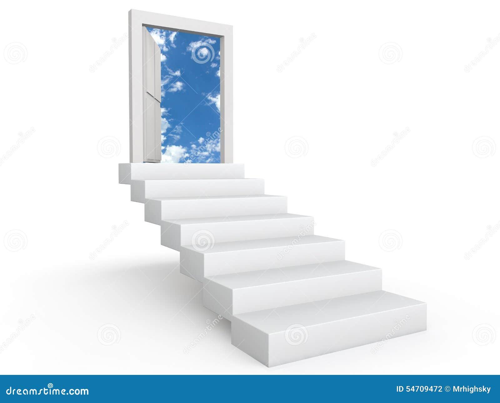 Stairs To Door In The Sky. 3d Render Of Stairs To Open Door In The