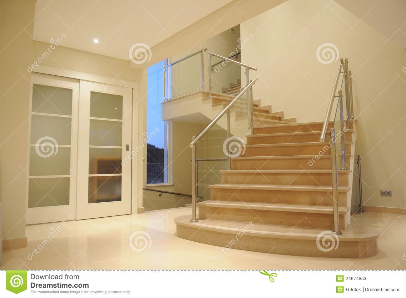 Modern Marble Staircase Interior Mansion Lobby Stock