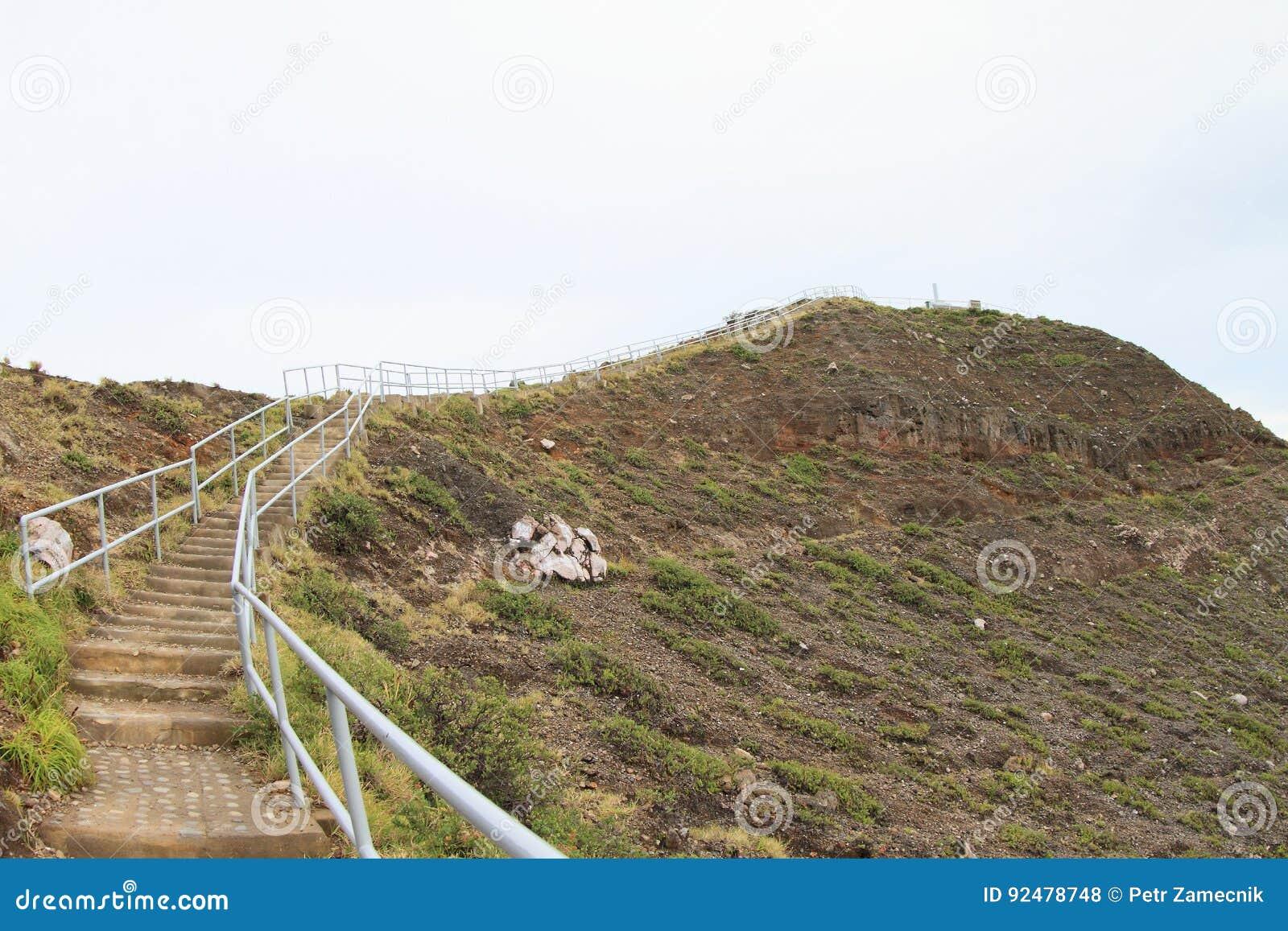 Stairs to top of Kelimutu mountain