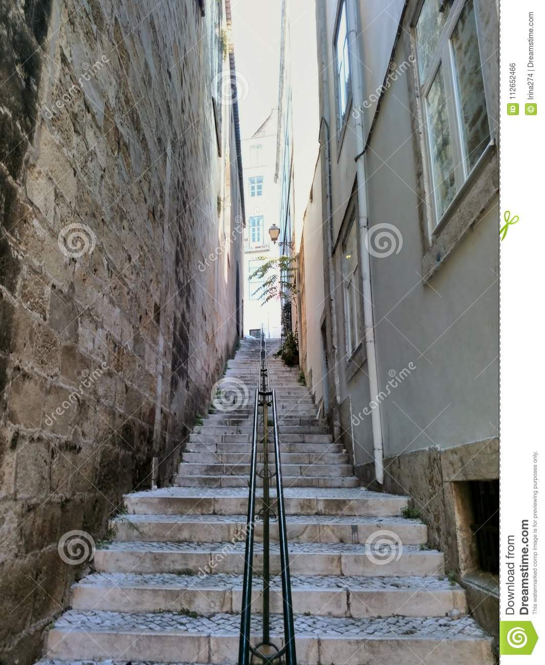 Stairs Between Two Buildings Lisbon Portugal Stock Photo Image