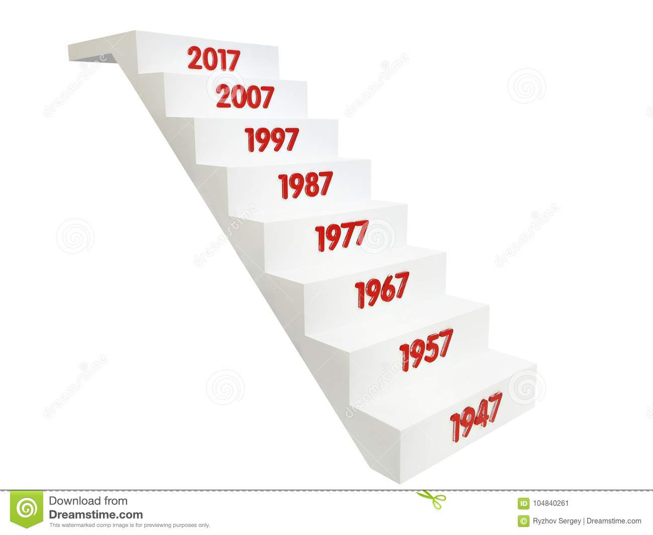 Stairs up with dates of years isolated