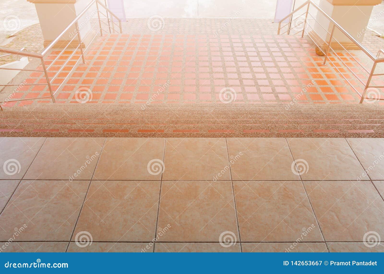 Stairs Walkway Down Terrazzo Flooring Outdoor Building Stock