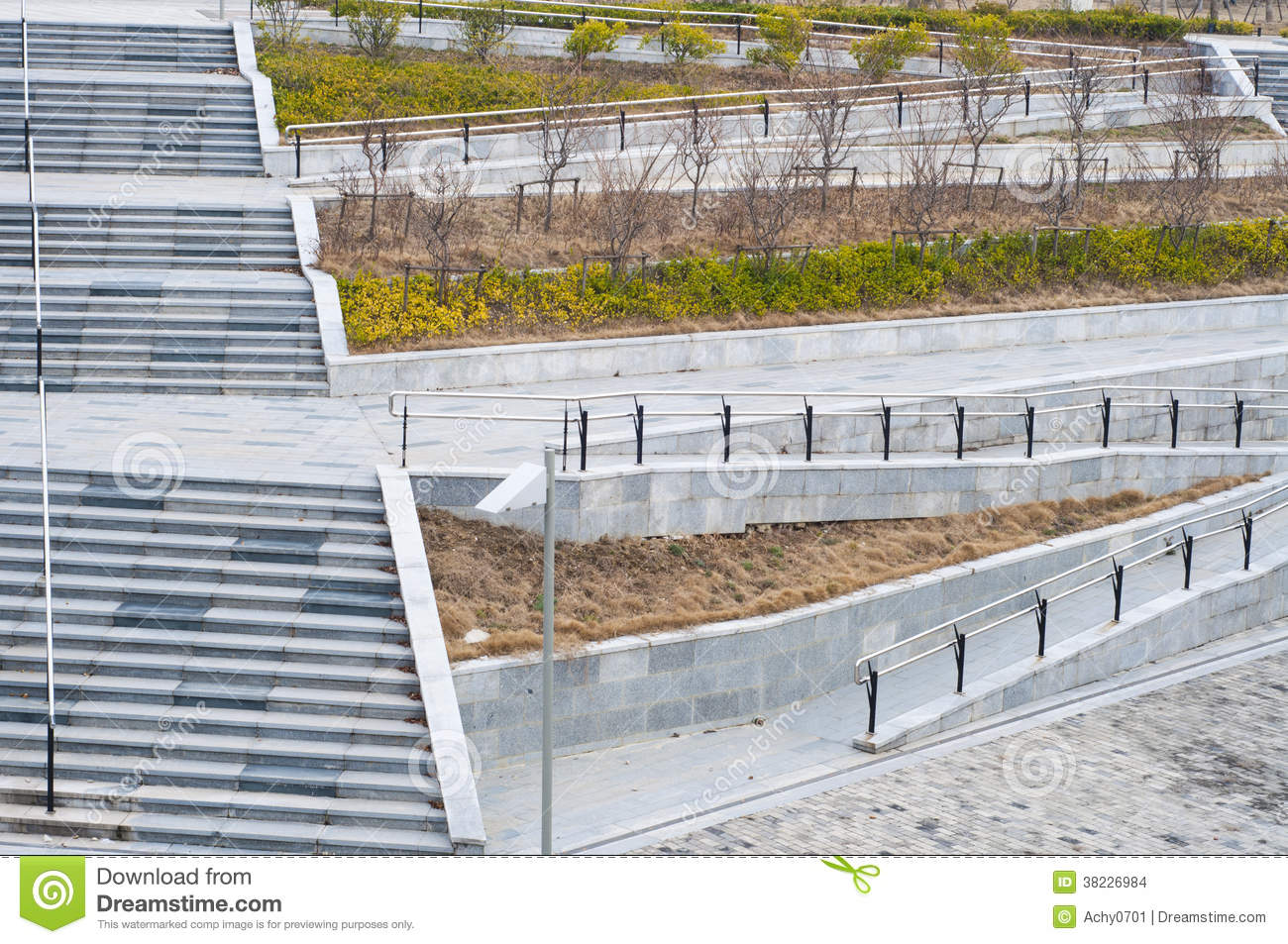 the stairs and wheelchair ramp stock photo image of green help