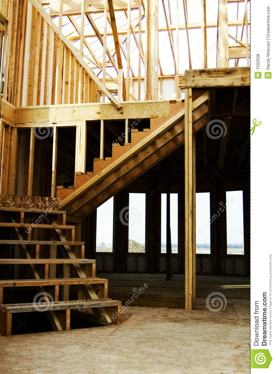 Stairs Wood Framed Home Construction Stock Photo Image