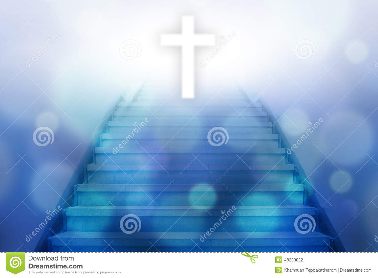 Stairway going up to the christian cross