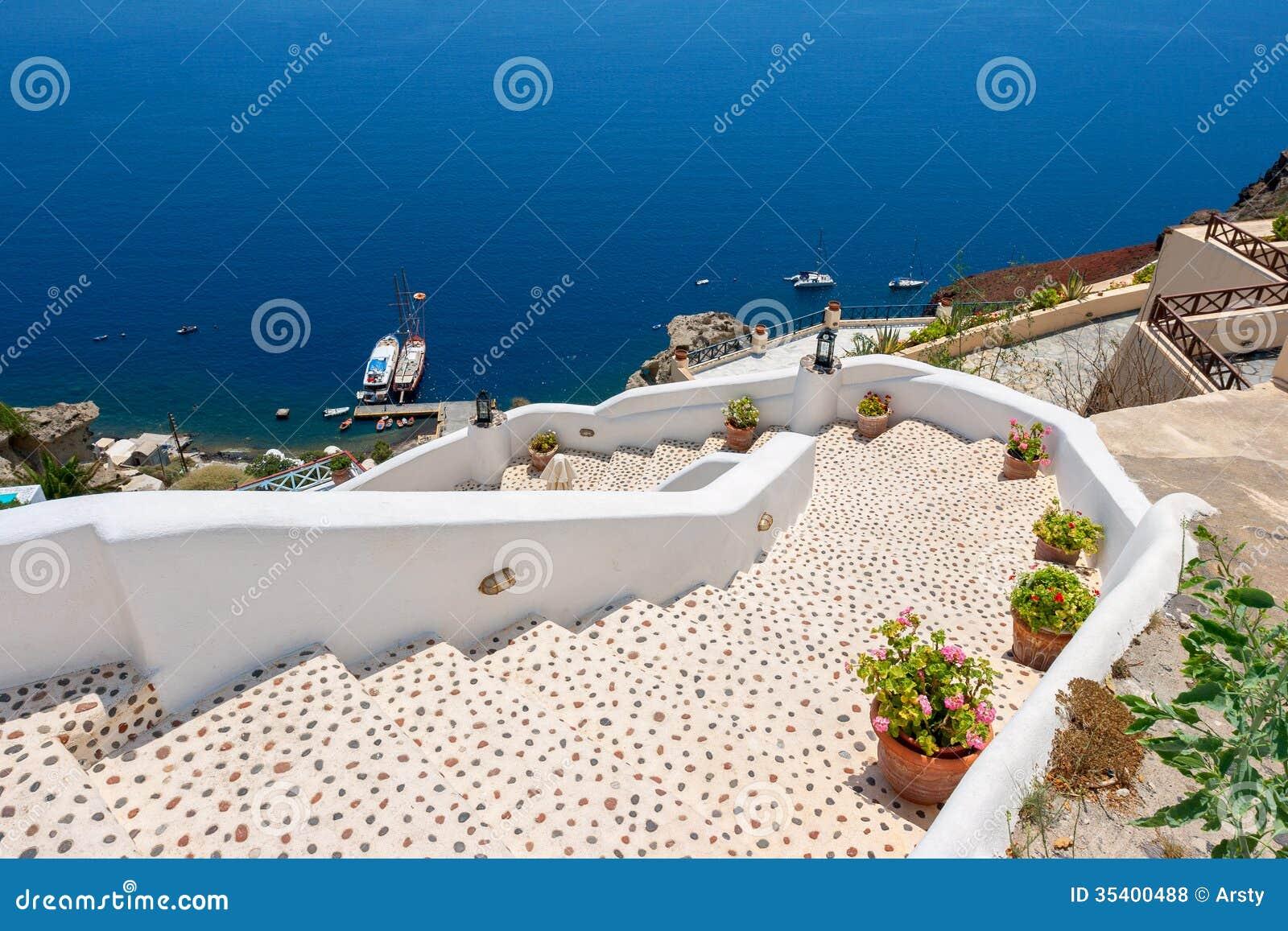 Stairway To Sea Oia Santorini Greece Stock Photo