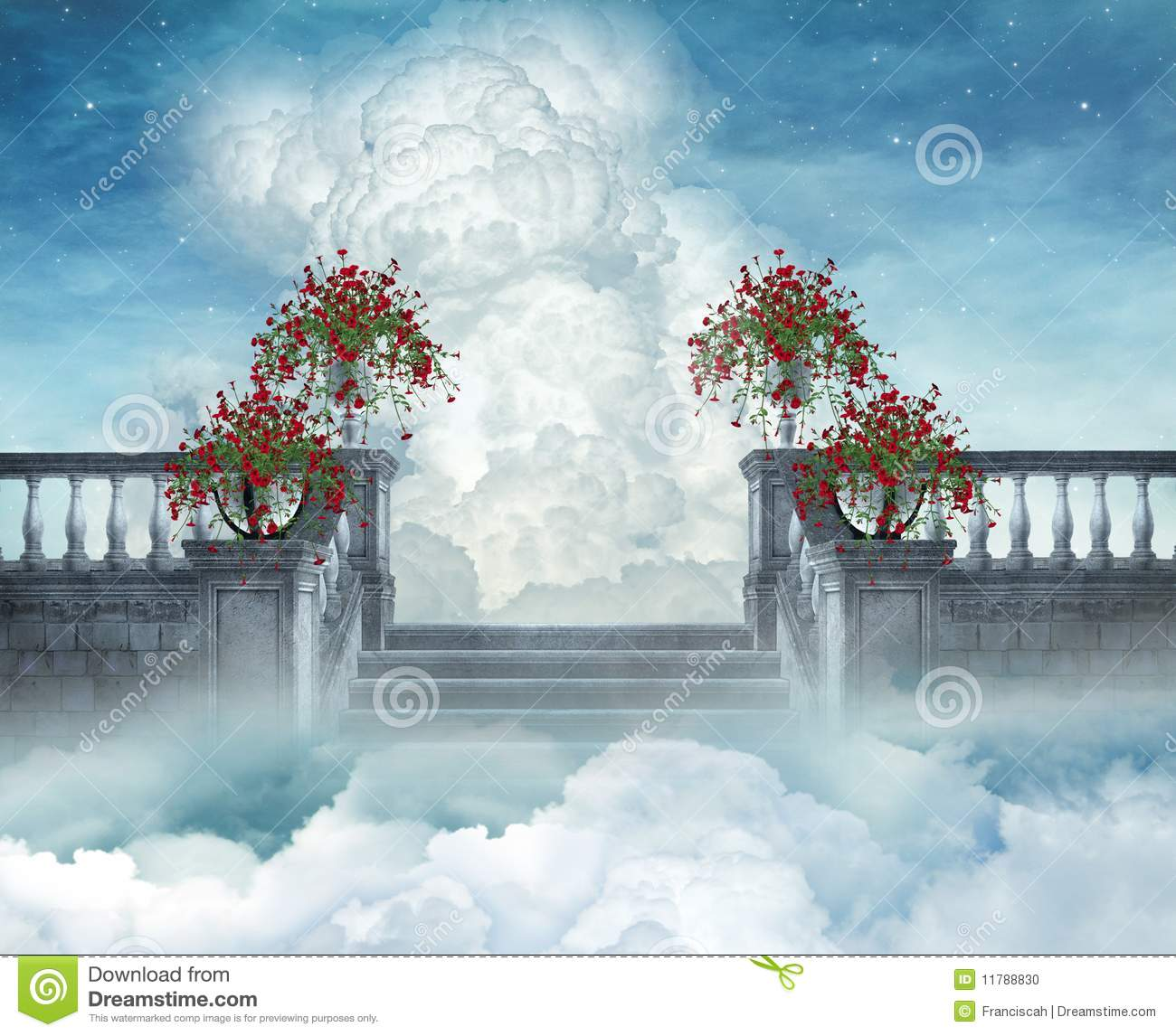 Fantastic view of a flowered stair in the heaven
