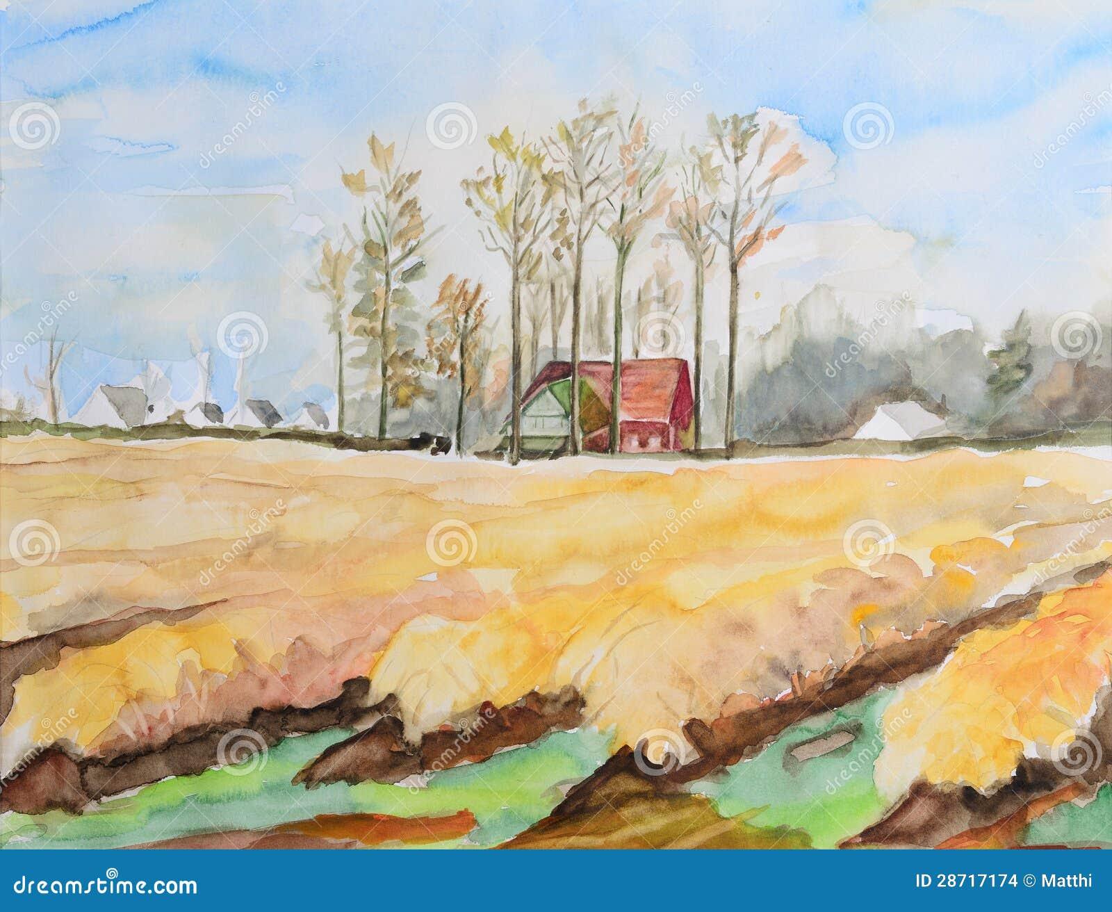 Stajnia w jesieni łąkach