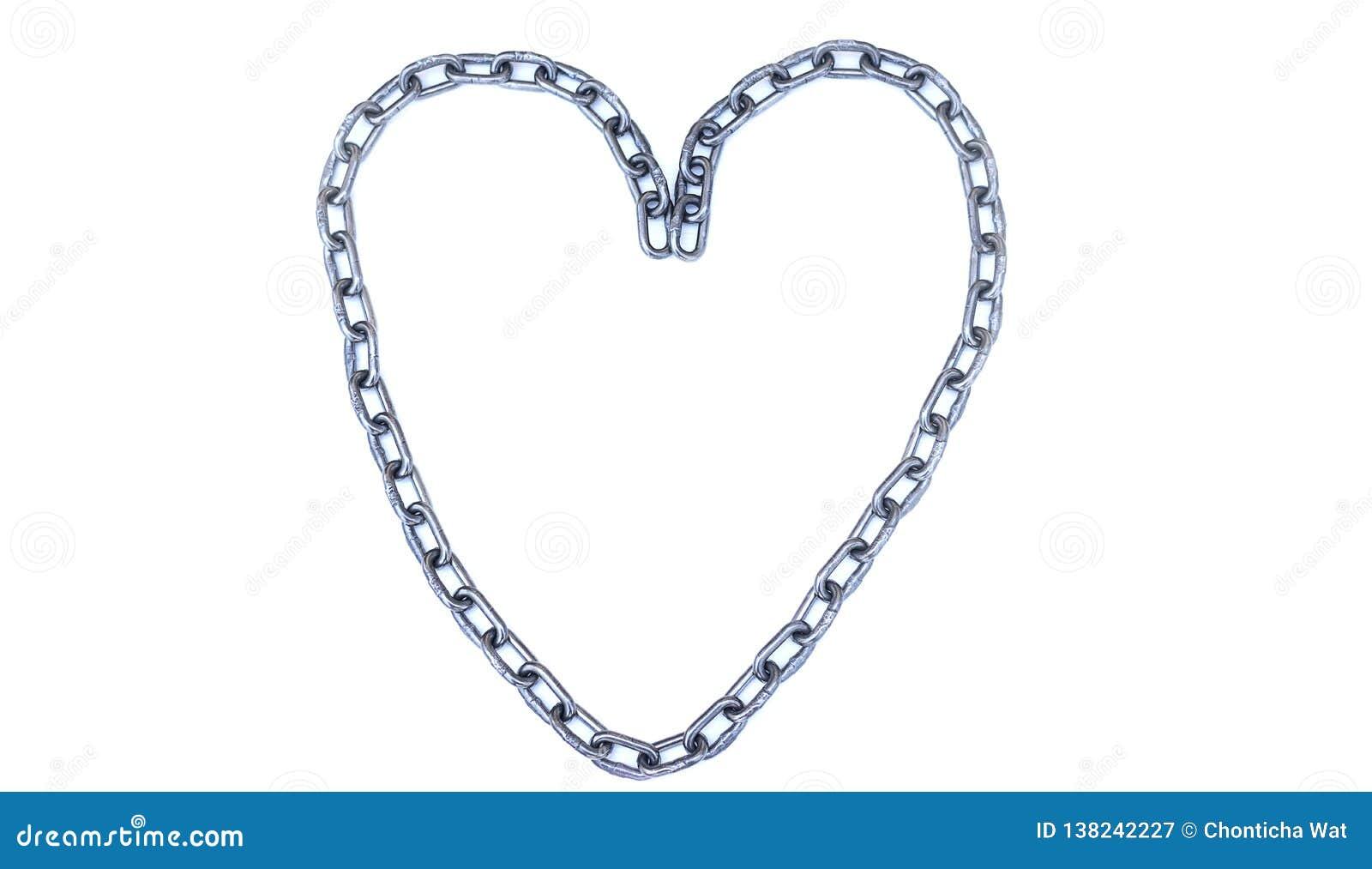Stal łańcuch Umieszczający jako serce na białym tle, walentynki miłości pojęcie