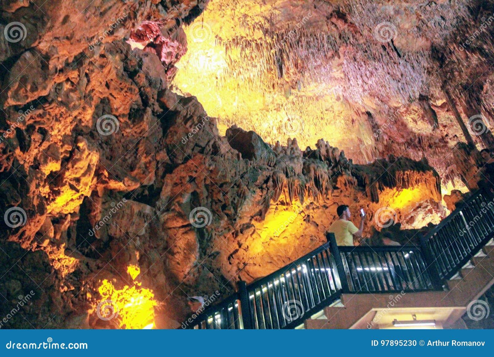 Stalactites and stalagmites inside Damlatas Cave Alanya, Turkey
