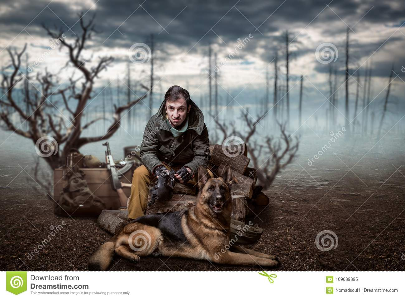 Stalker soldier and dog stock image  Image of doomsday - 109089895