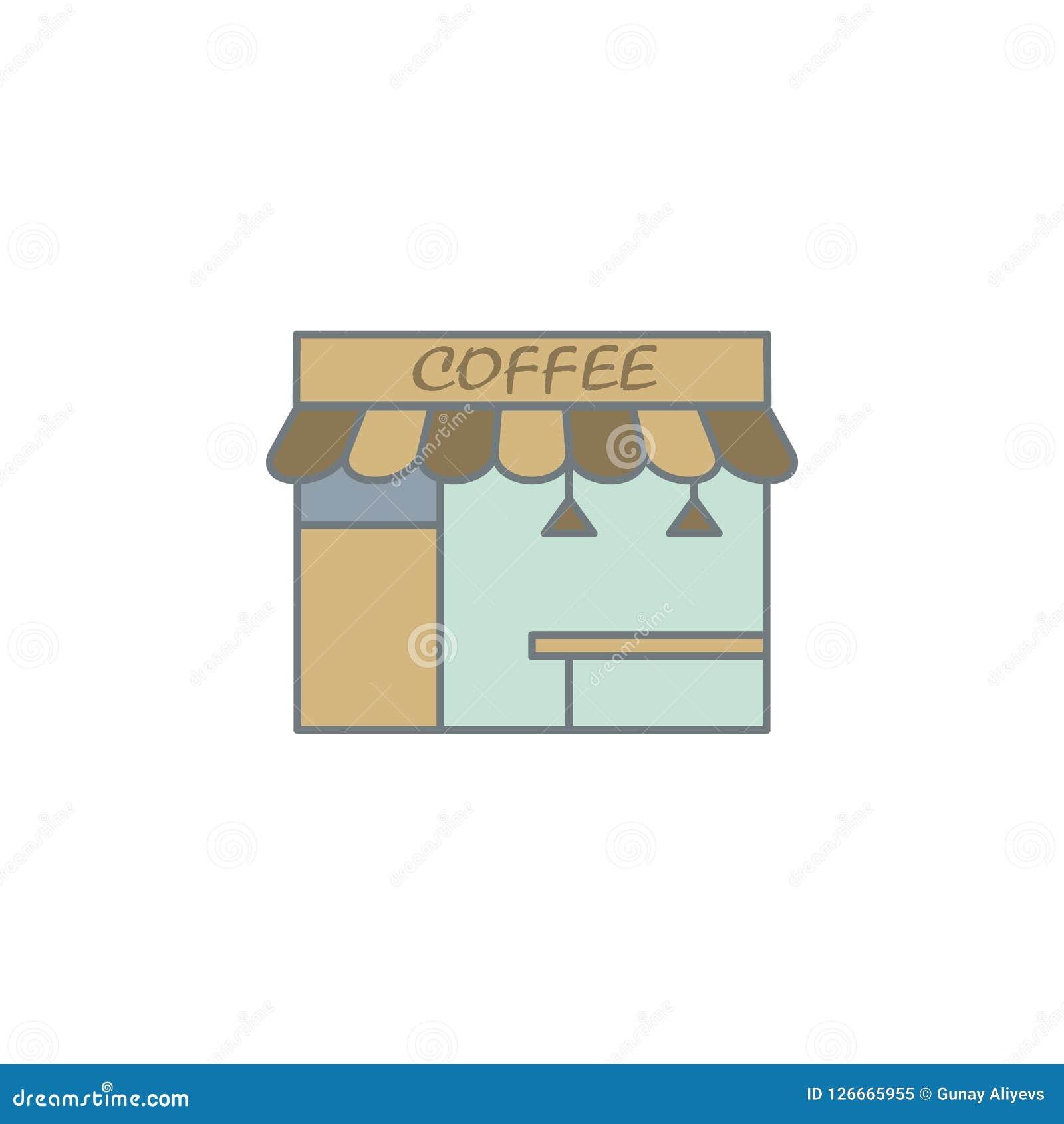 Stall der Kaffee farbigen Ikone Element der farbigen Kaffeeikone für bewegliche Konzept und Netz apps Farbstall der Kaffeeikone k