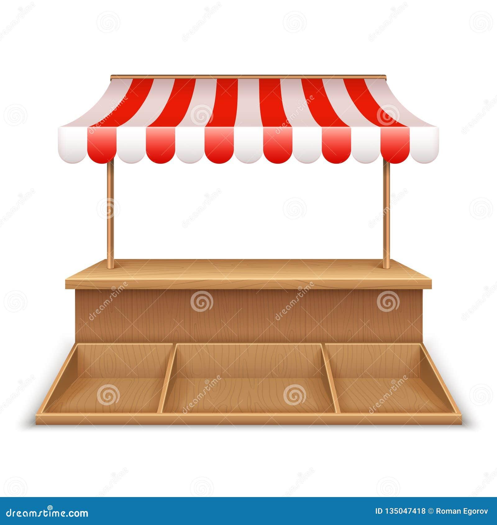 Stalla vuota del mercato Chiosco di legno, supporto della drogheria della via con la tenda a strisce e contro modello dello scrit