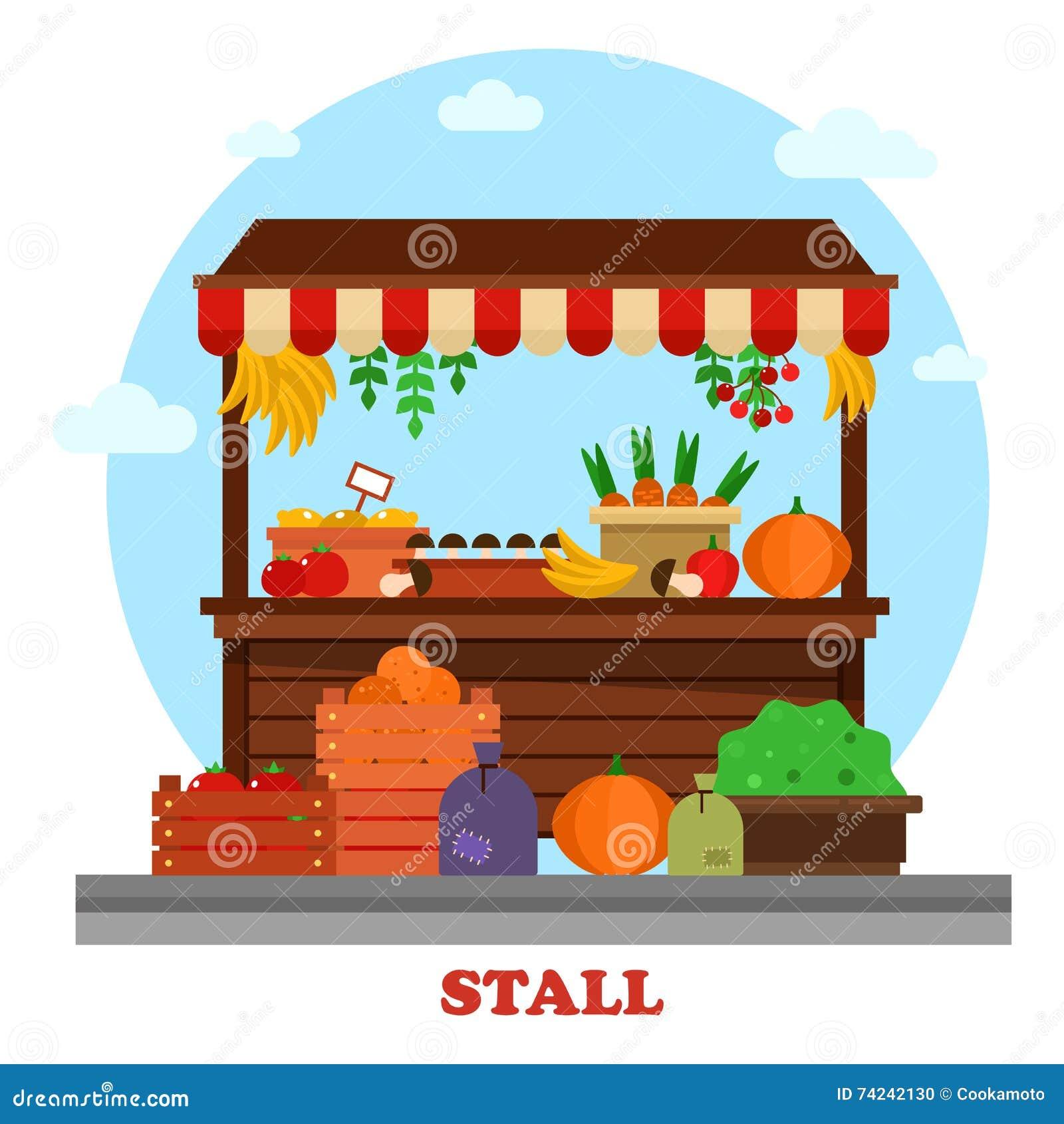 Stalle de bazar du marché ou compteur de nourriture