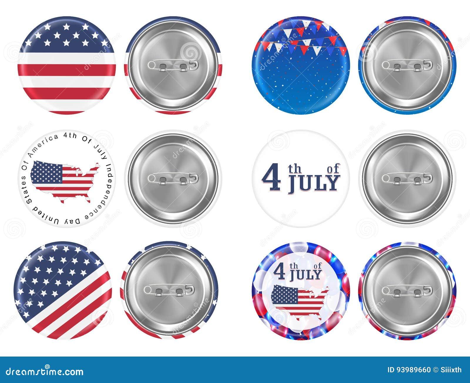 Stalowa round broszka 4th Lipiec i America chorągwiany temat
