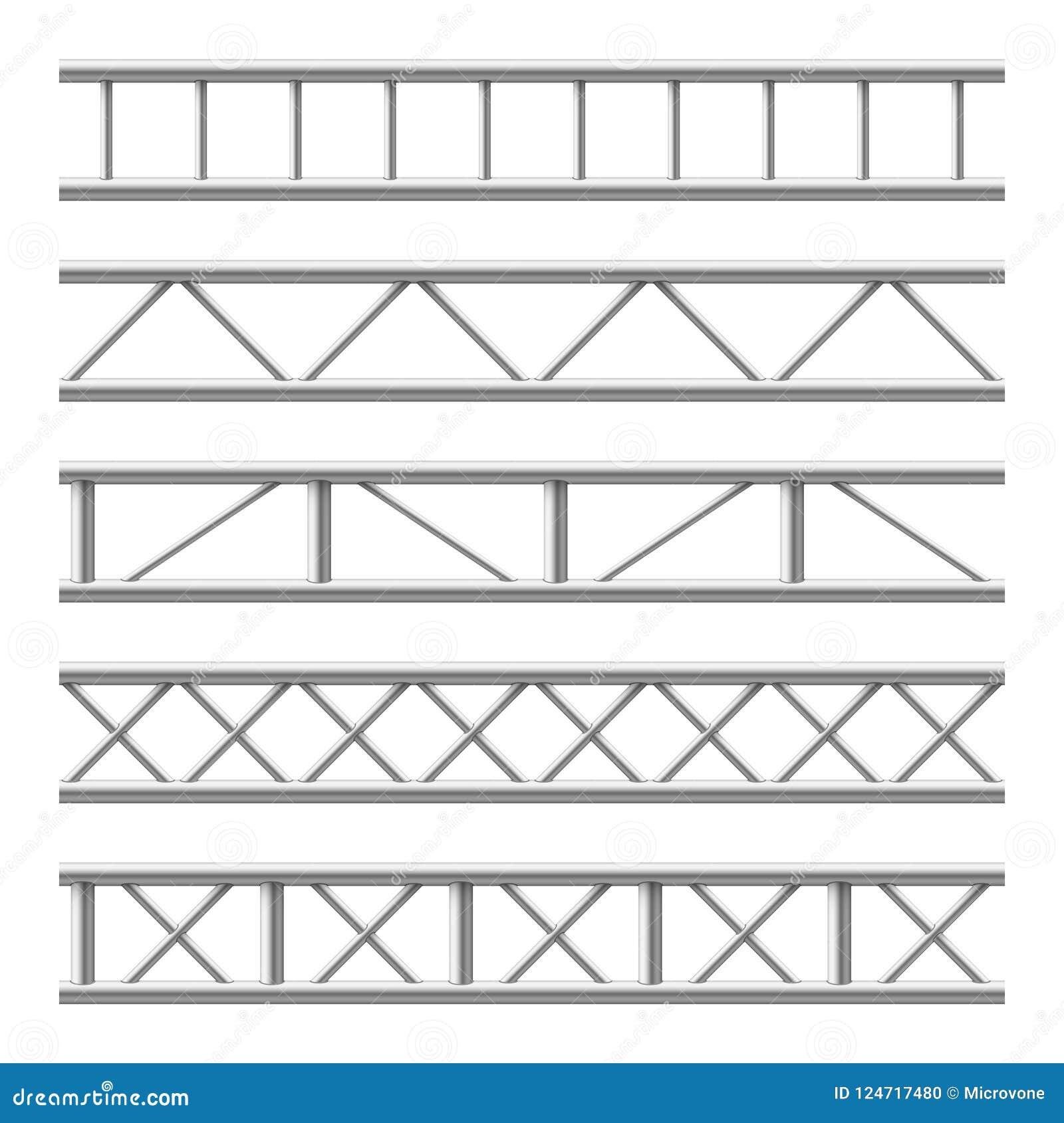 Stalowej kratownicowej stropnicy bezszwowa struktura Metal struktura dla billboardu Odosobniony wektoru set