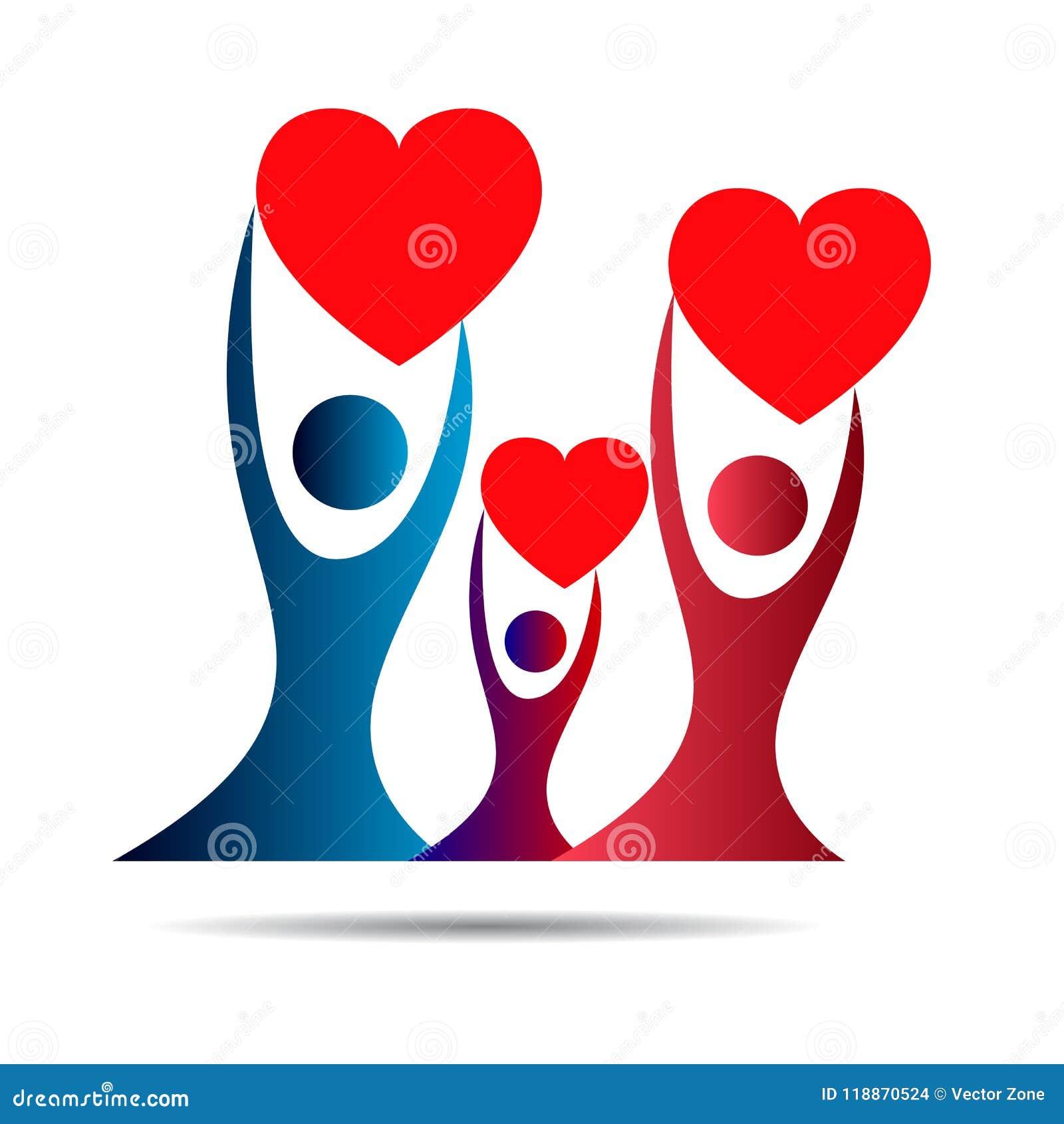 Stamboomembleem, familie, ouder, jong geitje, rood hart, ouderschap, zorg, cirkel, gezondheid, onderwijs, het ontwerpvector van h