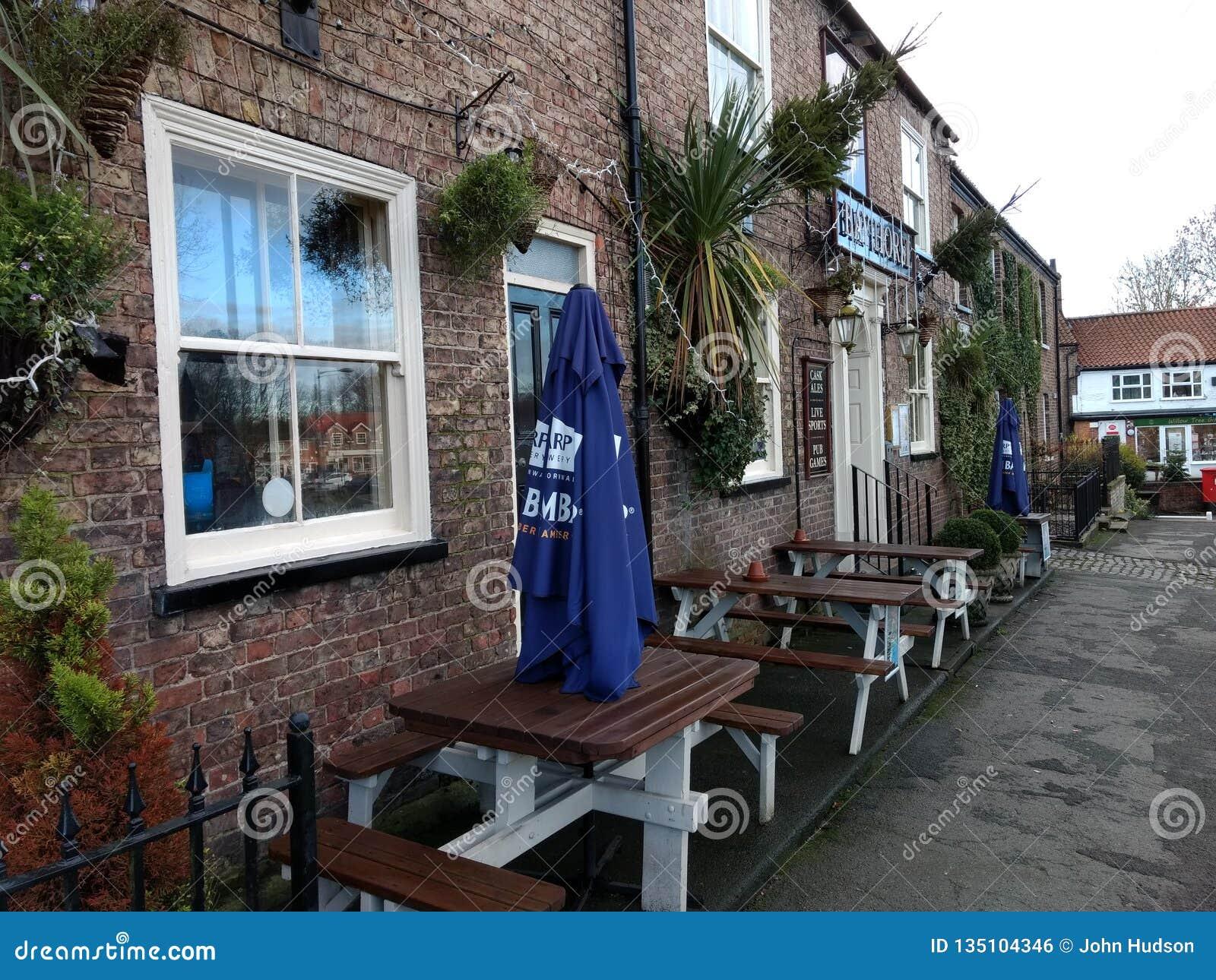 Stamford Bridge main street with pub.