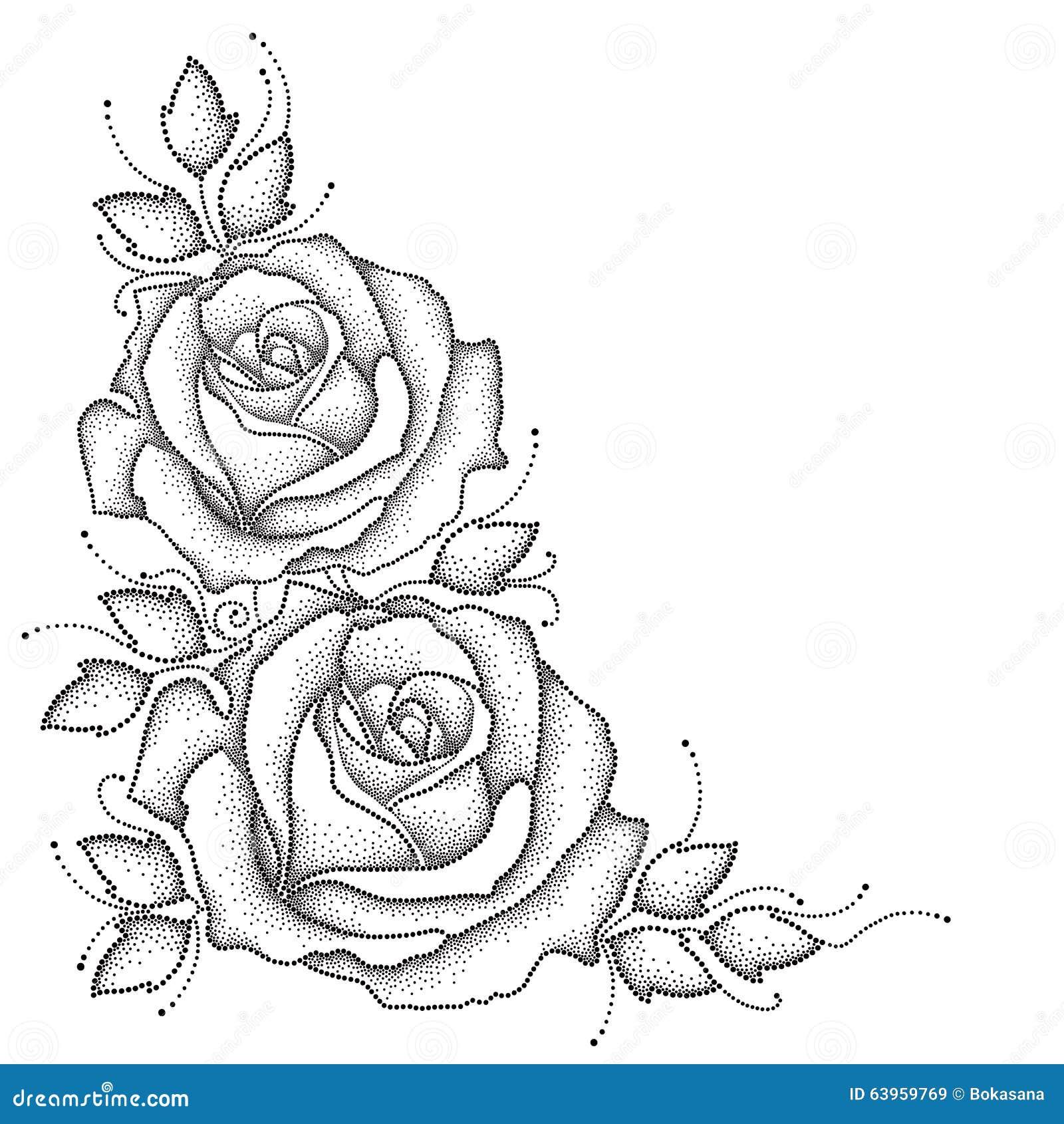 Stamm mit punktierter rosafarbener Blume und Blättern auf weißem Hintergrund Florenelemente in dotwork Art